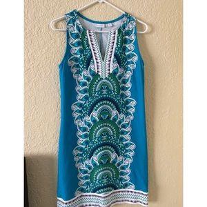 New York & Company Printed Turquoise Dress